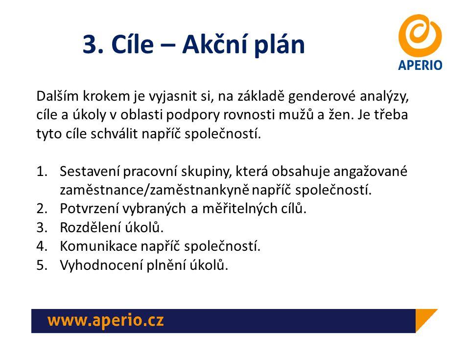 3. Cíle – Akční plán Dalším krokem je vyjasnit si, na základě genderové analýzy, cíle a úkoly v oblasti podpory rovnosti mužů a žen. Je třeba tyto cíl