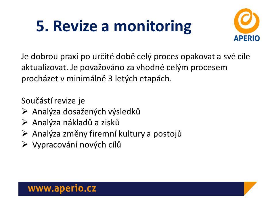 5. Revize a monitoring Je dobrou praxí po určité době celý proces opakovat a své cíle aktualizovat.