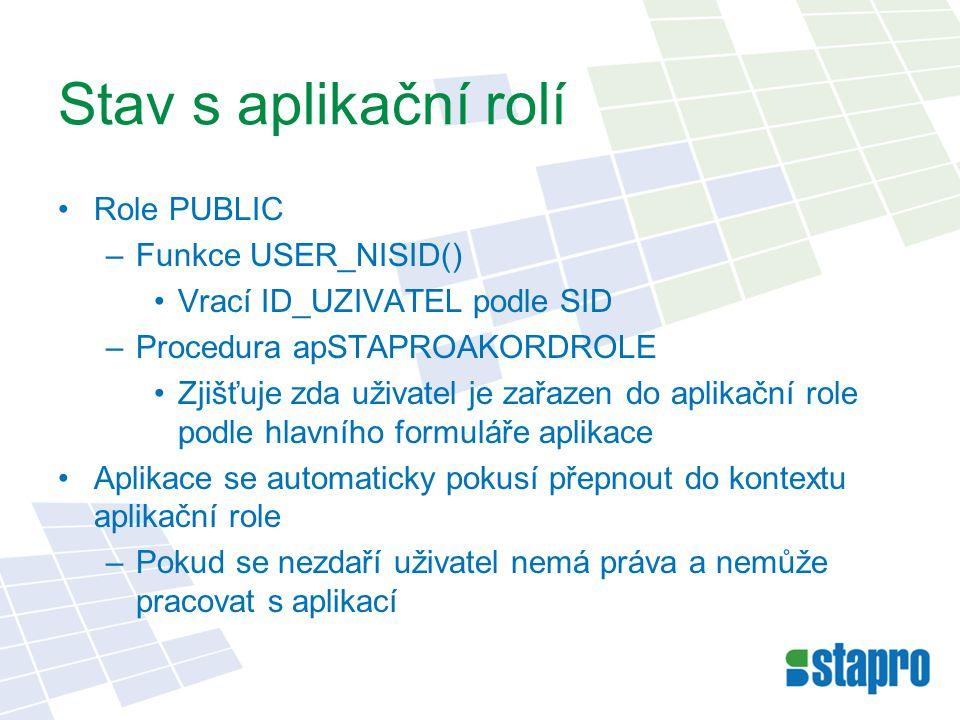 Stav s aplikační rolí Role PUBLIC –Funkce USER_NISID() Vrací ID_UZIVATEL podle SID –Procedura apSTAPROAKORDROLE Zjišťuje zda uživatel je zařazen do aplikační role podle hlavního formuláře aplikace Aplikace se automaticky pokusí přepnout do kontextu aplikační role –Pokud se nezdaří uživatel nemá práva a nemůže pracovat s aplikací