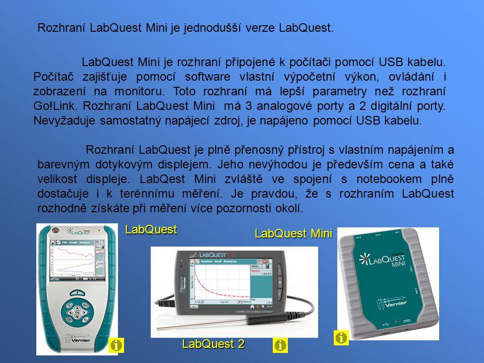 Rozhraní LabQuest Mini je jednodušší verze LabQuest.