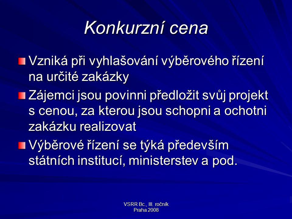 VSRR Bc., III. ročník Praha 2008 Konkurzní cena Vzniká při vyhlašování výběrového řízení na určité zakázky Zájemci jsou povinni předložit svůj projekt