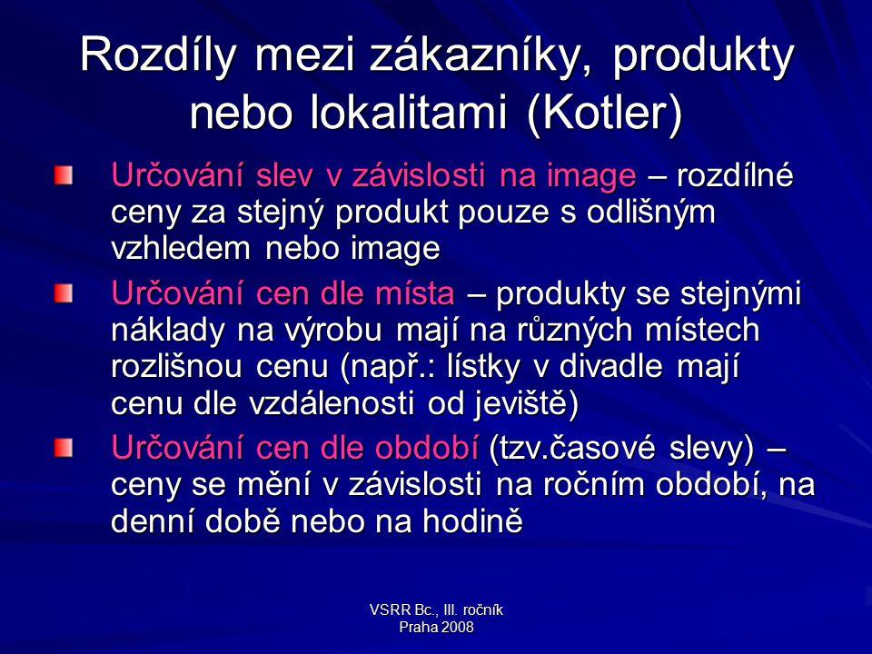 VSRR Bc., III. ročník Praha 2008 Rozdíly mezi zákazníky, produkty nebo lokalitami (Kotler) Určování slev v závislosti na image – rozdílné ceny za stej