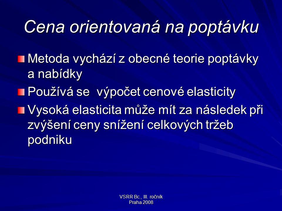 VSRR Bc., III. ročník Praha 2008 Cena orientovaná na poptávku Metoda vychází z obecné teorie poptávky a nabídky Používá se výpočet cenové elasticity V