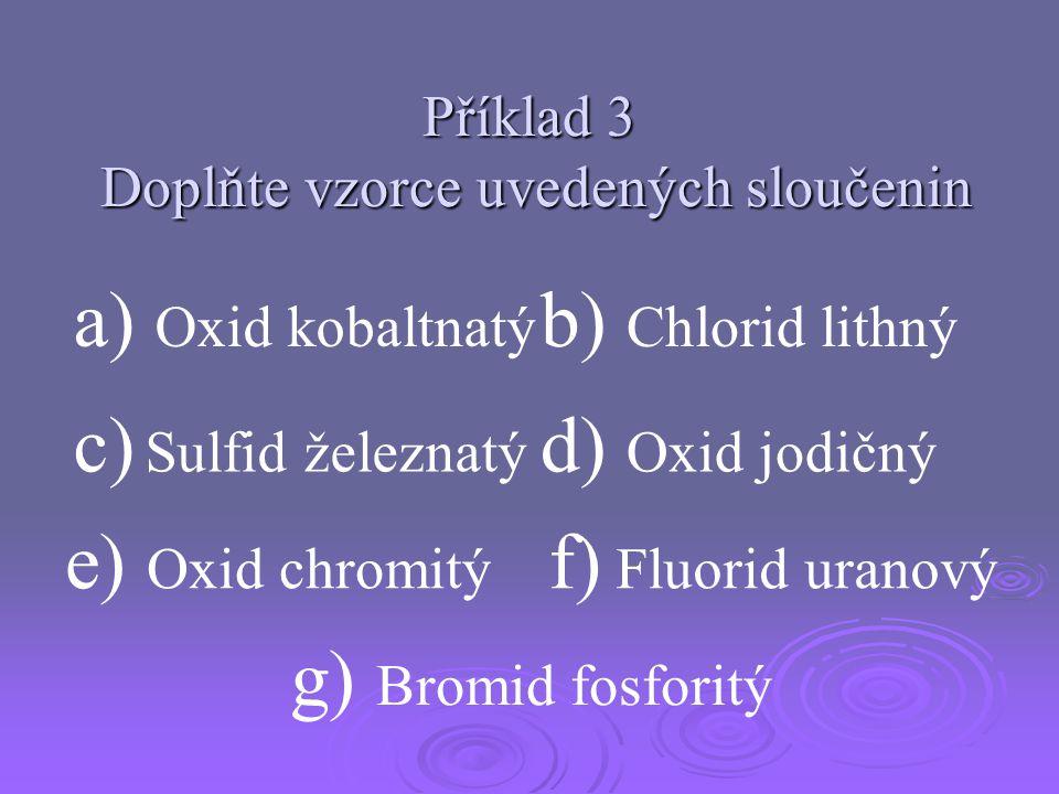 Příklad 3 Doplňte vzorce uvedených sloučenin a) Oxid kobaltnatý g) Bromid fosforitý e) Oxid chromitý b) Chlorid lithný d) Oxid jodičný f) Fluorid uran