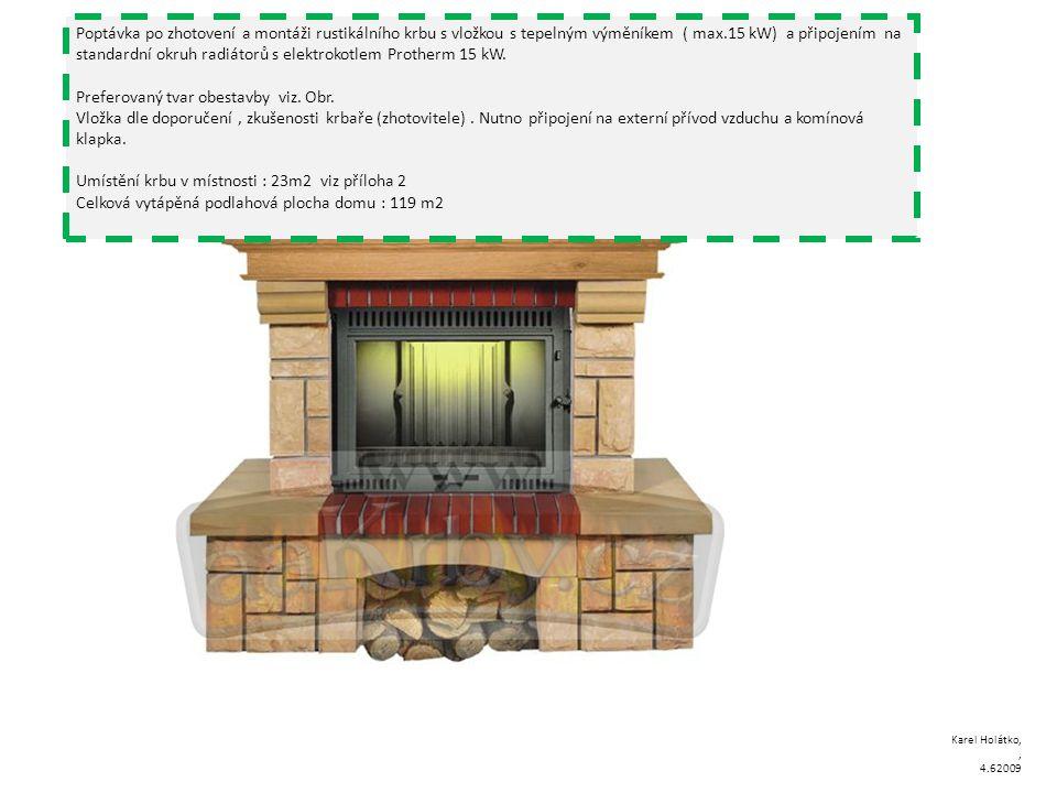 Poptávka po zhotovení a montáži rustikálního krbu s vložkou s tepelným výměníkem ( max.15 kW) a připojením na standardní okruh radiátorů s elektrokotlem Protherm 15 kW.