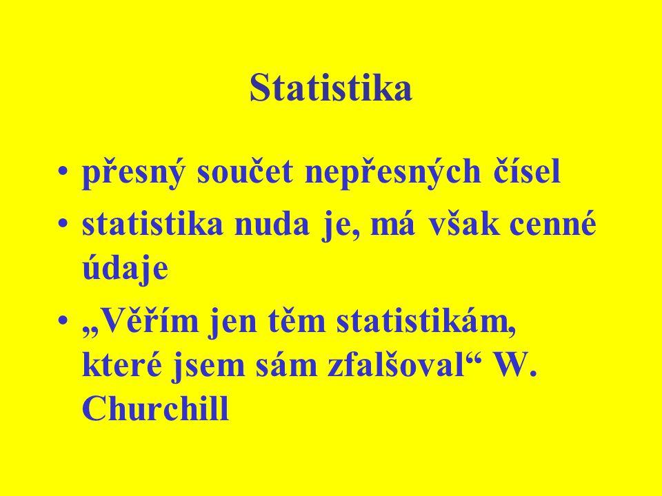 """Statistika přesný součet nepřesných čísel statistika nuda je, má však cenné údaje """"Věřím jen těm statistikám, které jsem sám zfalšoval W."""