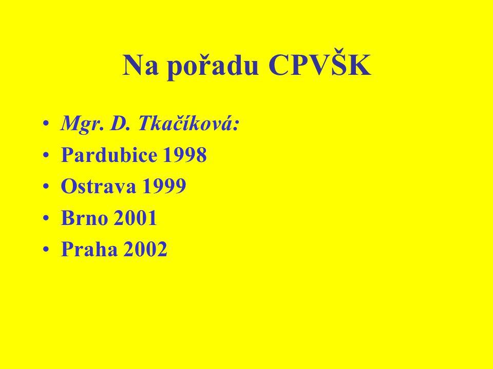 Na pořadu CPVŠK Mgr. D. Tkačíková: Pardubice 1998 Ostrava 1999 Brno 2001 Praha 2002