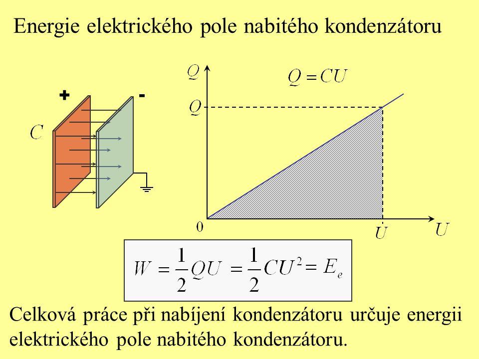 Energie elektrického pole nabitého kondenzátoru Celková práce při nabíjení kondenzátoru určuje energii elektrického pole nabitého kondenzátoru.