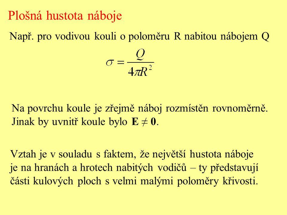 Plošná hustota náboje Např.