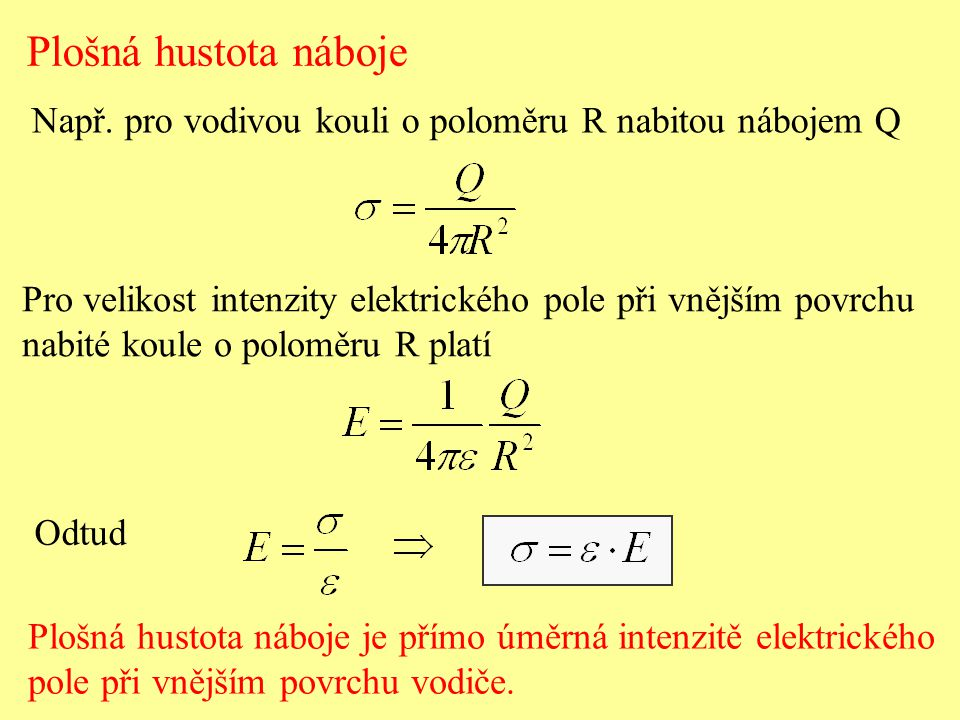 Plošná hustota náboje Např. pro vodivou kouli o poloměru R nabitou nábojem Q Pro velikost intenzity elektrického pole při vnějším povrchu nabité koule