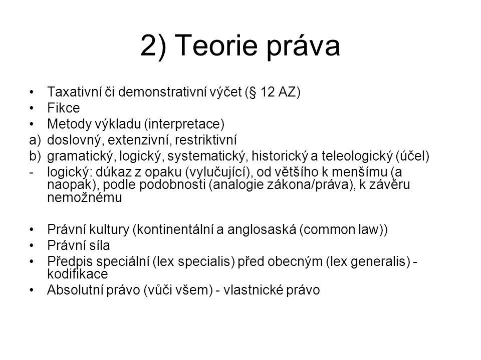 2) Teorie práva Taxativní či demonstrativní výčet (§ 12 AZ) Fikce Metody výkladu (interpretace) a)doslovný, extenzivní, restriktivní b)gramatický, log