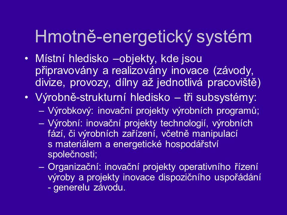 Hmotně-energetický systém Místní hledisko –objekty, kde jsou připravovány a realizovány inovace (závody, divize, provozy, dílny až jednotlivá pracoviš