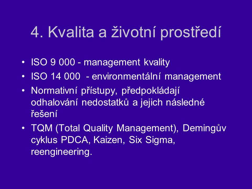 4. Kvalita a životní prostředí ISO 9 000 - management kvality ISO 14 000 - environmentální management Normativní přístupy, předpokládají odhalování ne