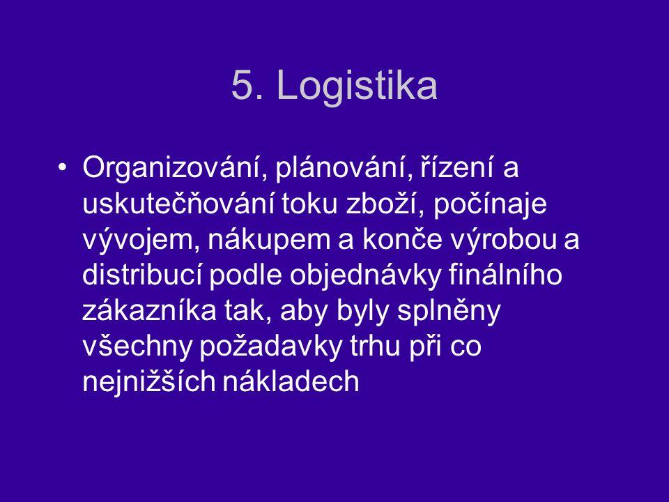 5. Logistika Organizování, plánování, řízení a uskutečňování toku zboží, počínaje vývojem, nákupem a konče výrobou a distribucí podle objednávky finál