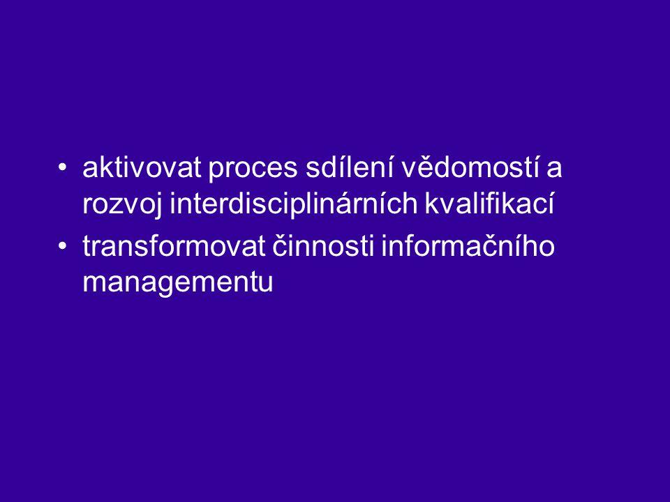 aktivovat proces sdílení vědomostí a rozvoj interdisciplinárních kvalifikací transformovat činnosti informačního managementu