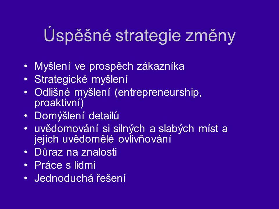 Úspěšné strategie změny Myšlení ve prospěch zákazníka Strategické myšlení Odlišné myšlení (entrepreneurship, proaktivní) Domýšlení detailů uvědomování