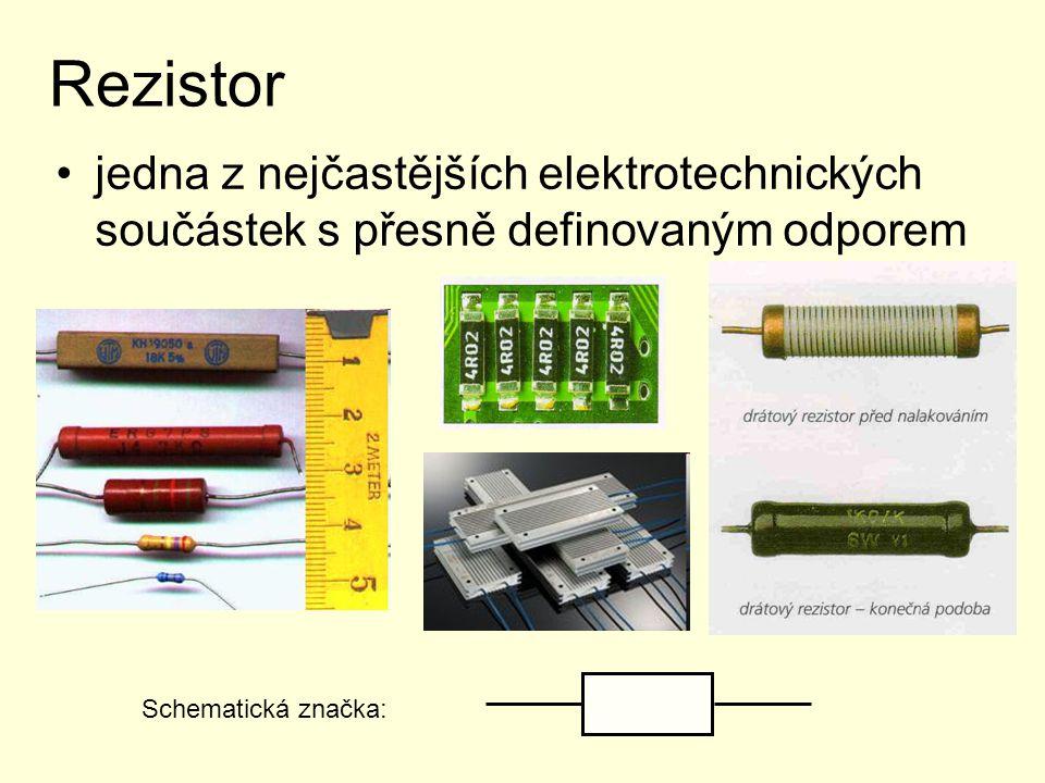 Rezistor jedna z nejčastějších elektrotechnických součástek s přesně definovaným odporem Schematická značka: