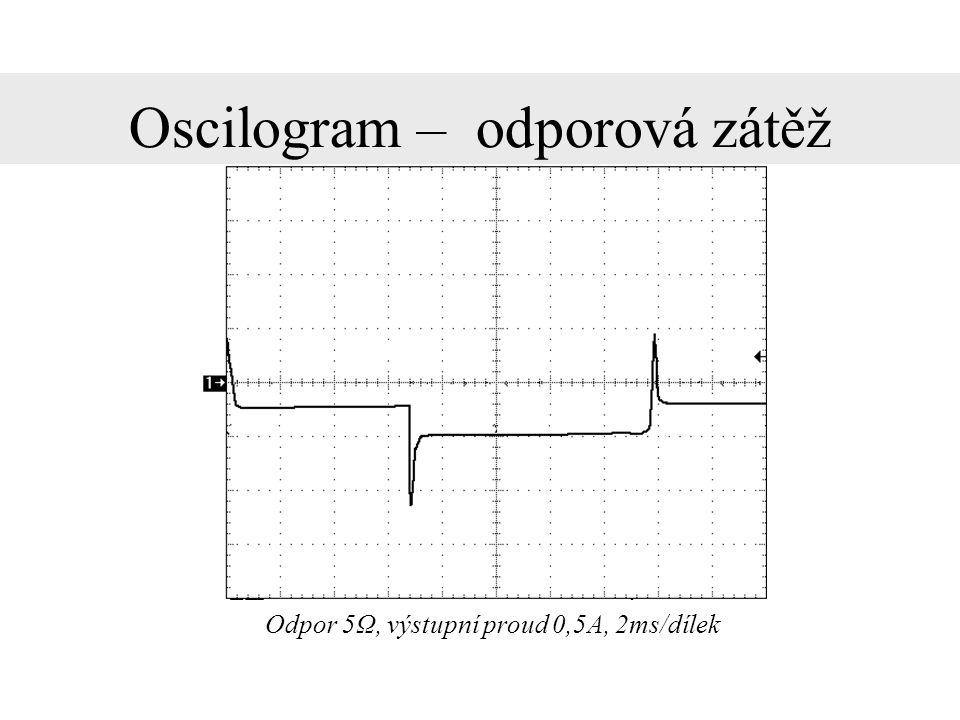 Oscilogram – induktivní zátěž Cívka, výstupní proud 1A, 2ms/dílek