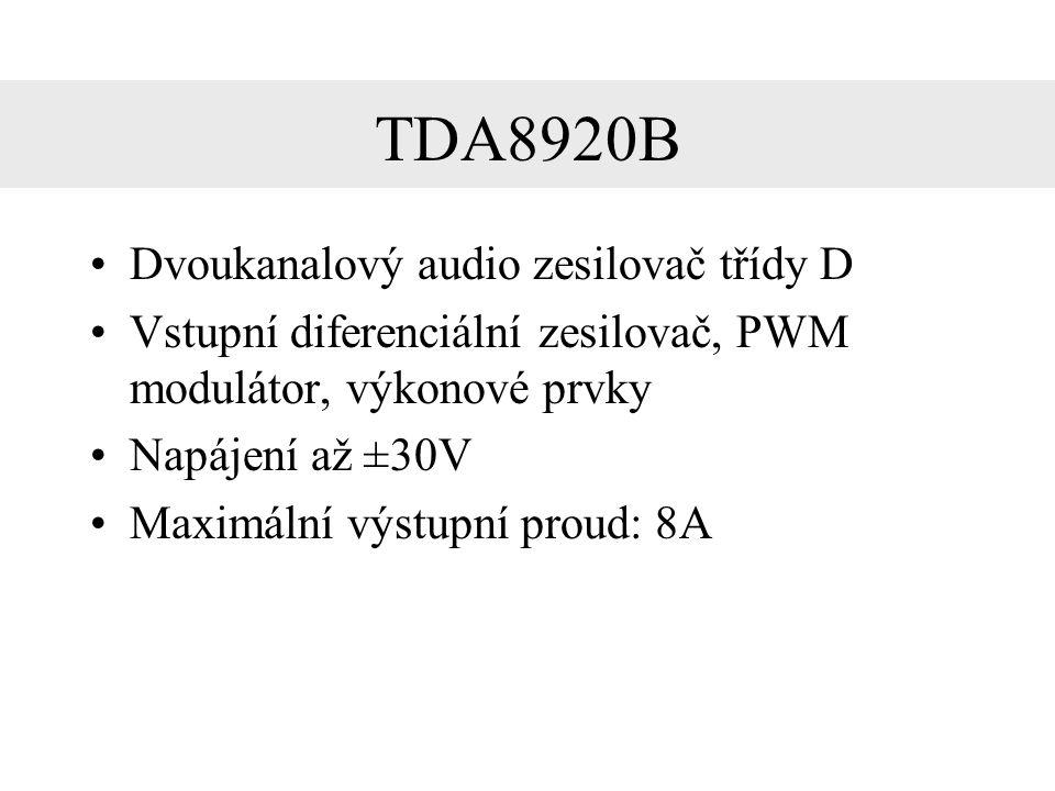TDA8920 – výhody Jednoduchá modifikace na dvoukvadrantový zdroj Dostatečný výstupní proud Obsahuje ochranu proti přepětí