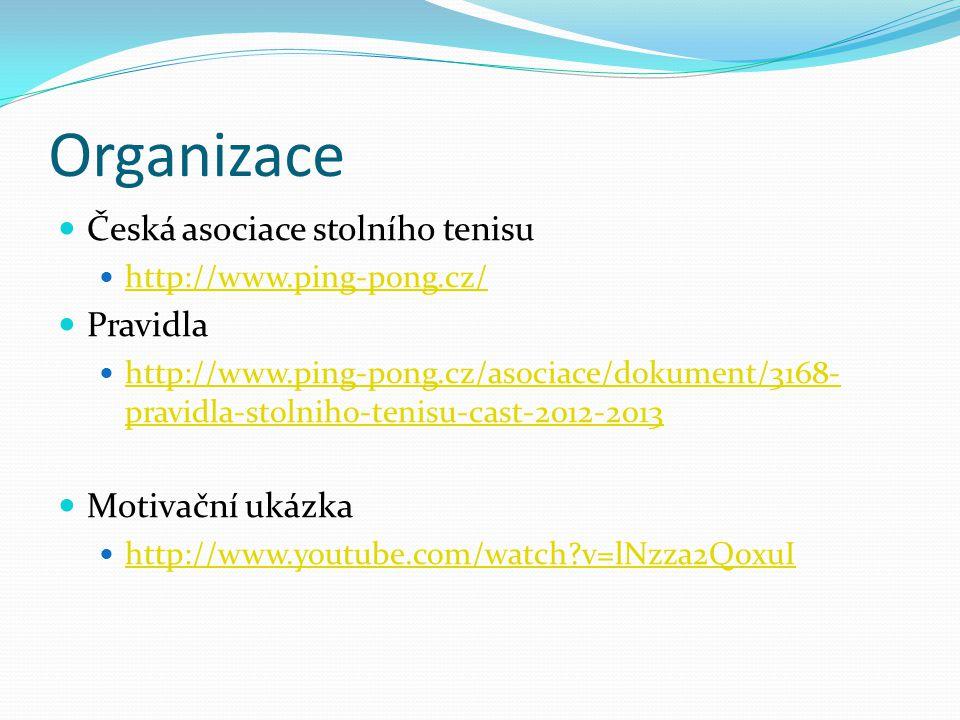 Organizace Česká asociace stolního tenisu http://www.ping-pong.cz/ Pravidla http://www.ping-pong.cz/asociace/dokument/3168- pravidla-stolniho-tenisu-cast-2012-2013 http://www.ping-pong.cz/asociace/dokument/3168- pravidla-stolniho-tenisu-cast-2012-2013 Motivační ukázka http://www.youtube.com/watch?v=lNzza2Q0xuI