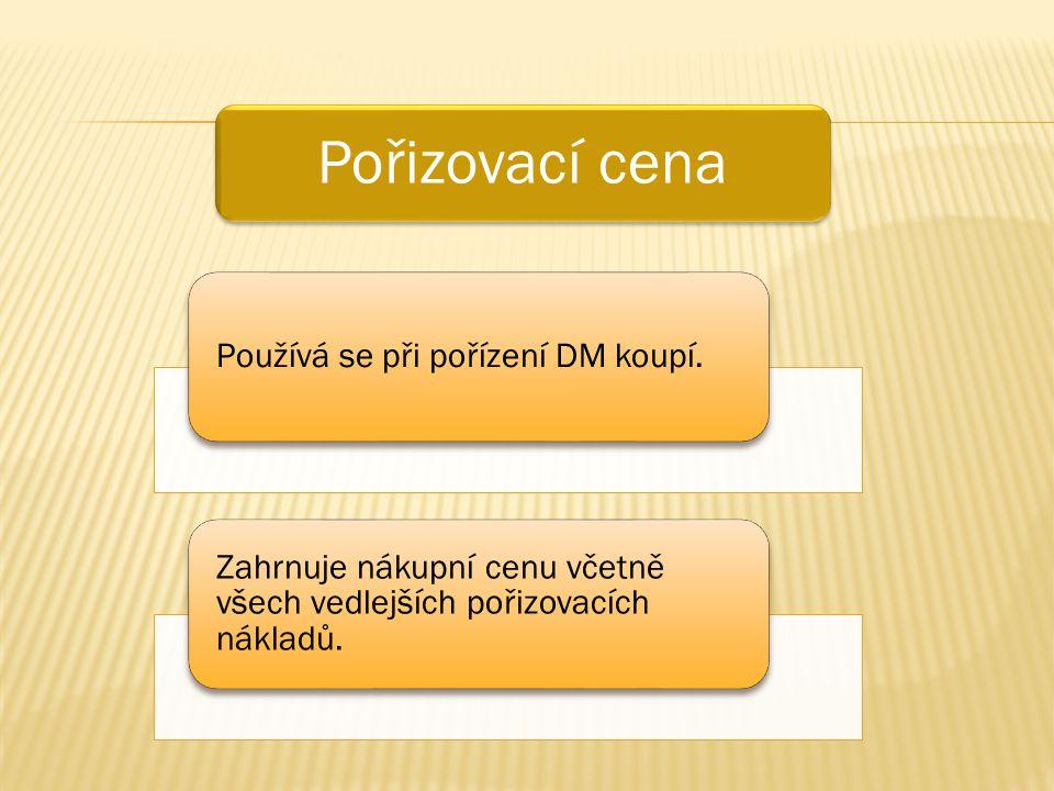 Pořizovací cena Používá se při pořízení DM koupí. Zahrnuje nákupní cenu včetně všech vedlejších pořizovacích nákladů.