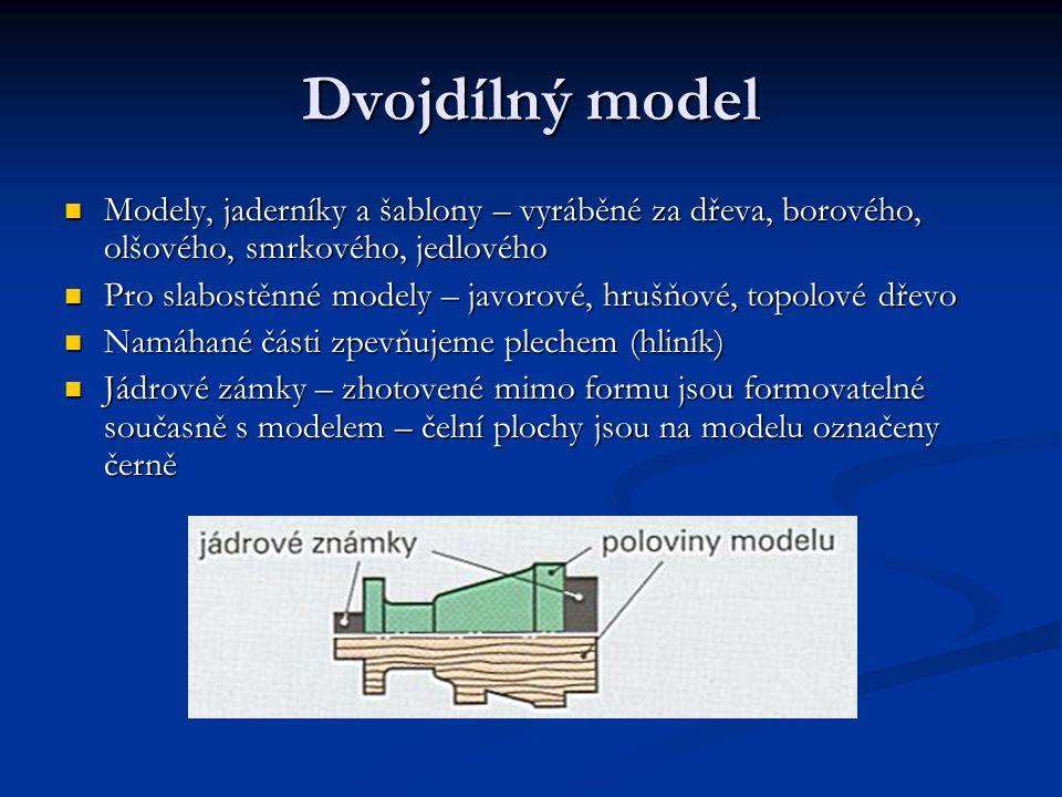 Dvojdílný model Modely, jaderníky a šablony – vyráběné za dřeva, borového, olšového, smrkového, jedlového Modely, jaderníky a šablony – vyráběné za dřeva, borového, olšového, smrkového, jedlového Pro slabostěnné modely – javorové, hrušňové, topolové dřevo Pro slabostěnné modely – javorové, hrušňové, topolové dřevo Namáhané části zpevňujeme plechem (hliník) Namáhané části zpevňujeme plechem (hliník) Jádrové zámky – zhotovené mimo formu jsou formovatelné současně s modelem – čelní plochy jsou na modelu označeny černě Jádrové zámky – zhotovené mimo formu jsou formovatelné současně s modelem – čelní plochy jsou na modelu označeny černě