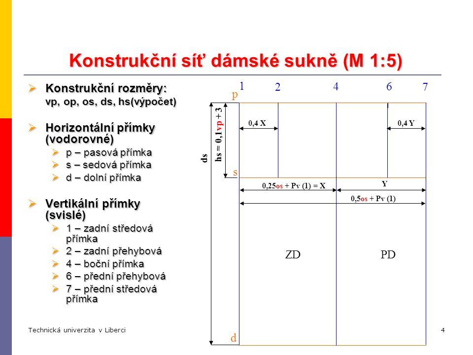 Technická univerzita v LiberciKatedra oděvnictví5 Tvarování pasové linie (M 1:5) d p s 1 4 7 2 ZDPD 6  pasové vybrání PD a ZD (na přímkách 2 a 6)  vybrání na zadním díle 1 - zadní vybrání 0,34 Rpk 2 - zadní vybrání 0,24 Rpk, 0,10 Rpk  vybrání na předním díle 0,16 Rpk  boční pasové vybrání (na boční přímce 4).