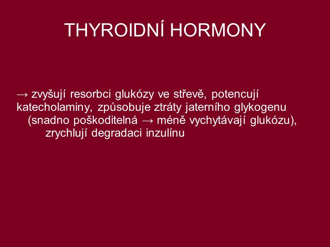 THYROIDNÍ HORMONY → zvyšují resorbci glukózy ve střevě, potencují katecholaminy, způsobuje ztráty jaterního glykogenu (snadno poškoditelná → méně vych