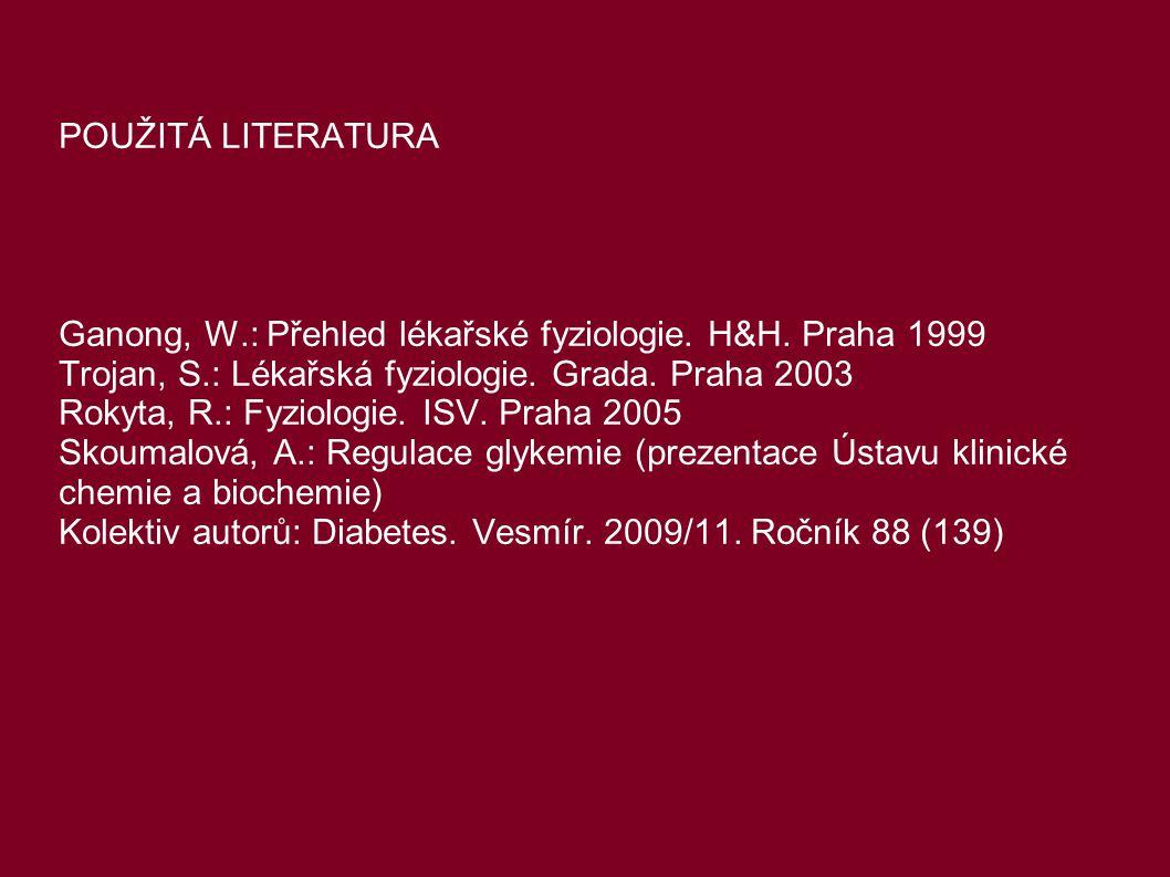 POUŽITÁ LITERATURA Ganong, W.: Přehled lékařské fyziologie. H&H. Praha 1999 Trojan, S.: Lékařská fyziologie. Grada. Praha 2003 Rokyta, R.: Fyziologie.