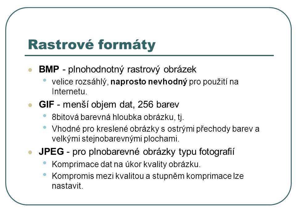 Rastrové formáty BMP - plnohodnotný rastrový obrázek velice rozsáhlý, naprosto nevhodný pro použití na Internetu.