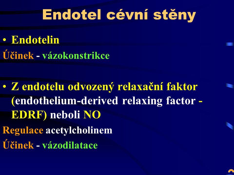 Endotel cévní stěny Endotelin Účinek - vázokonstrikce Z endotelu odvozený relaxační faktor (endothelium-derived relaxing factor - EDRF) neboli NO Regulace acetylcholinem Účinek - vázodilatace