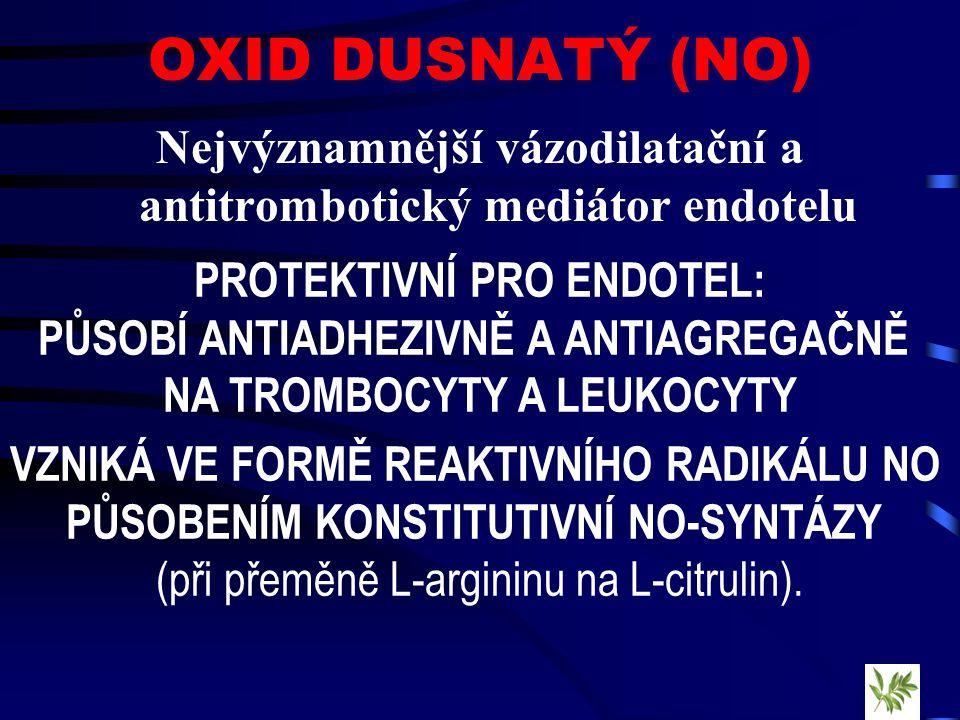 OXID DUSNATÝ (NO) Nejvýznamnější vázodilatační a antitrombotický mediátor endotelu PROTEKTIVNÍ PRO ENDOTEL: PŮSOBÍ ANTIADHEZIVNĚ A ANTIAGREGAČNĚ NA TROMBOCYTY A LEUKOCYTY VZNIKÁ VE FORMĚ REAKTIVNÍHO RADIKÁLU NO PŮSOBENÍM KONSTITUTIVNÍ NO-SYNTÁZY (při přeměně L-argininu na L-citrulin).