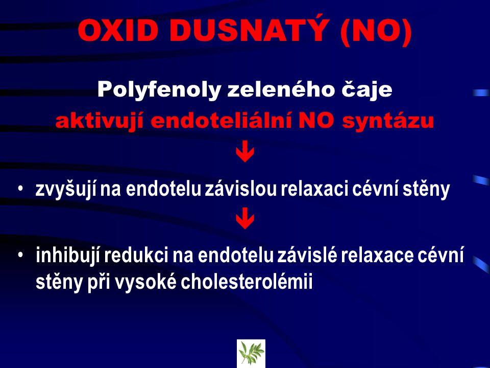 Polyfenoly zeleného čaje aktivují endoteliální NO syntázu  zvyšují na endotelu závislou relaxaci cévní stěny  inhibují redukci na endotelu závislé relaxace cévní stěny při vysoké cholesterolémii OXID DUSNATÝ (NO)