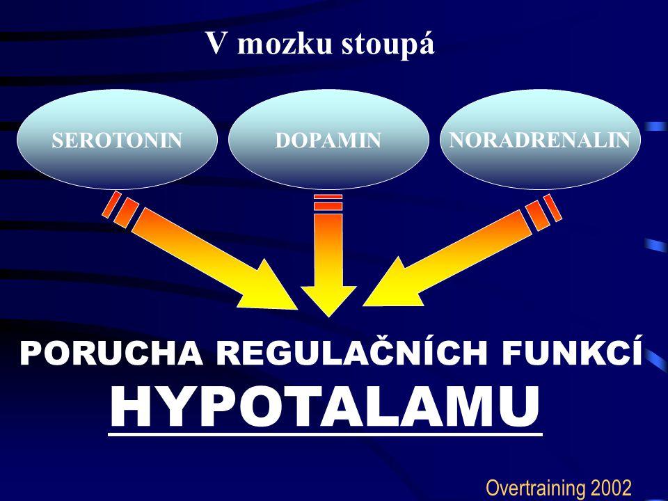 V mozku stoupá PORUCHA REGULAČNÍCH FUNKCÍ HYPOTALAMU SEROTONINNORADRENALINDOPAMIN Overtraining 2002