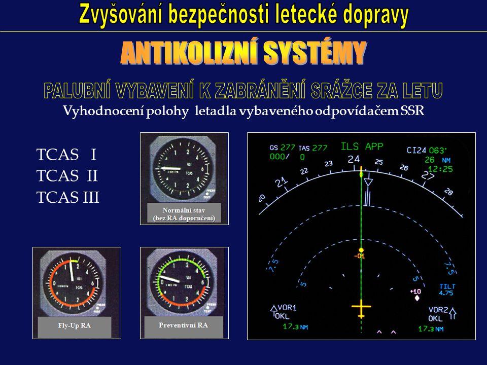 TCAS I TCAS II TCAS III Vyhodnocení polohy letadla vybaveného odpovídačem SSR