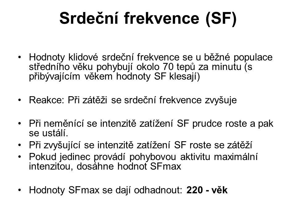 Srdeční frekvence (SF) Hodnoty klidové srdeční frekvence se u běžné populace středního věku pohybují okolo 70 tepů za minutu (s přibývajícím věkem hodnoty SF klesají) Reakce: Při zátěži se srdeční frekvence zvyšuje Při neměnící se intenzitě zatížení SF prudce roste a pak se ustálí.
