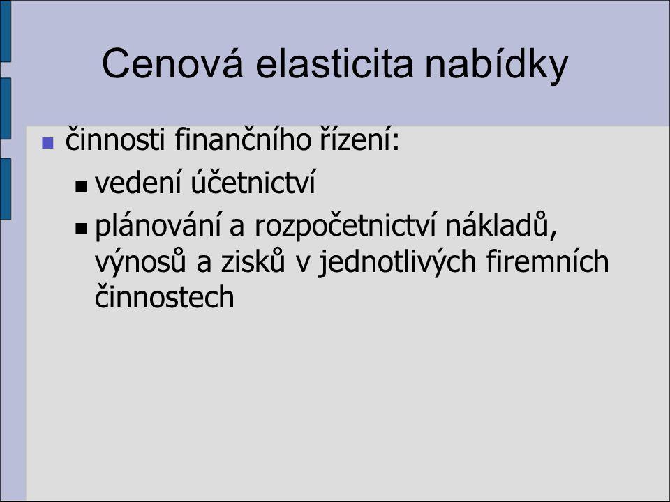 Cenová elasticita nabídky činnosti finančního řízení: vedení účetnictví plánování a rozpočetnictví nákladů, výnosů a zisků v jednotlivých firemních či