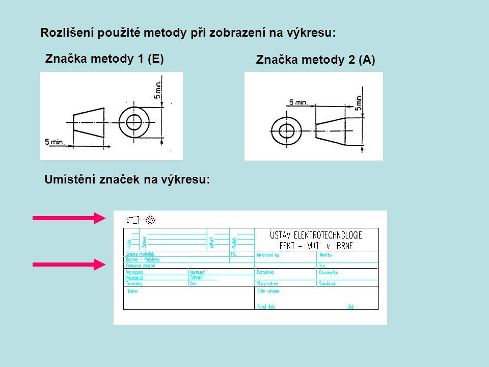 Rozlišení použité metody při zobrazení na výkresu: Značka metody 1 (E) Značka metody 2 (A) Umístění značek na výkresu: