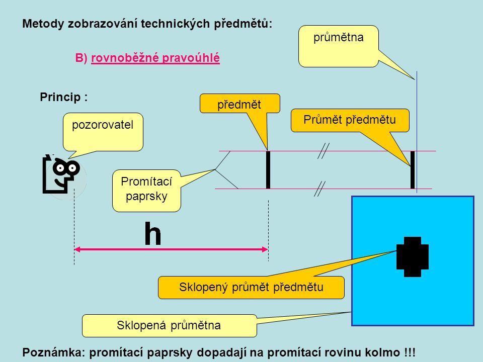 B) rovnoběžné pravoúhlé Metody zobrazování technických předmětů: Princip : pozorovatel předmět průmětna Průmět předmětu Sklopená průmětna Sklopený prů