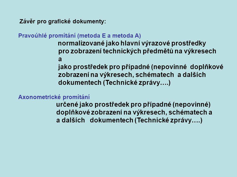 Závěr pro grafické dokumenty: Pravoúhlé promítání (metoda E a metoda A) normalizované jako hlavní výrazové prostředky pro zobrazení technických předmě