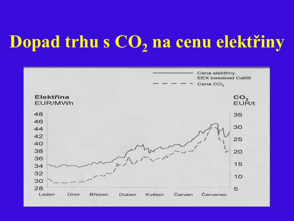 Dopad trhu s CO 2 na cenu elektřiny