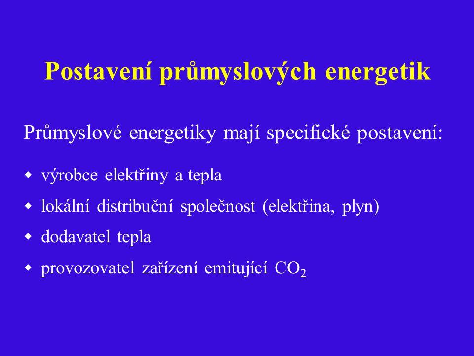 Postavení průmyslových energetik Průmyslové energetiky mají specifické postavení:  výrobce elektřiny a tepla  lokální distribuční společnost (elektřina, plyn)  dodavatel tepla  provozovatel zařízení emitující CO 2