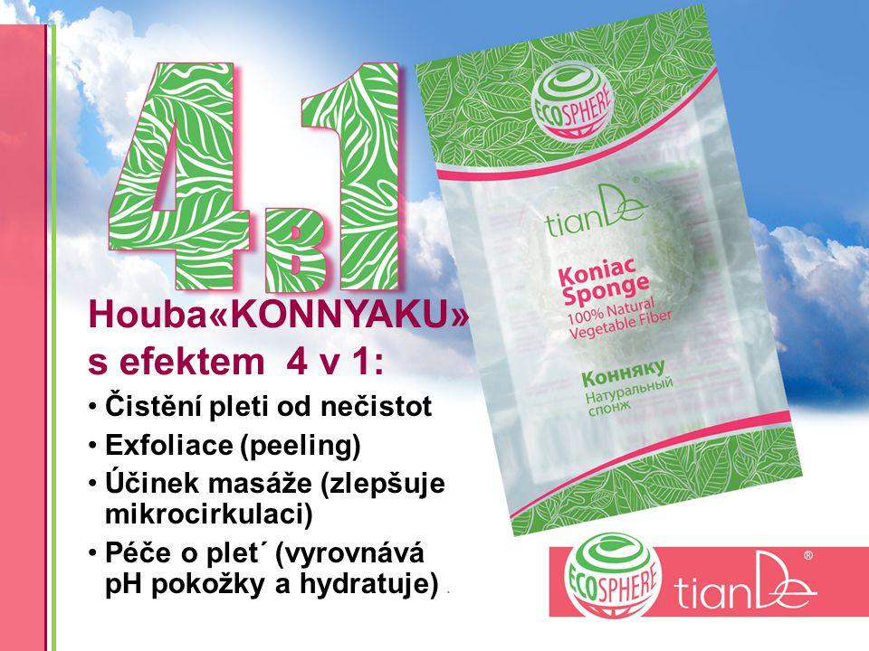 Houba«KONNYAKU» s efektem 4 v 1: Čistění pleti od nečistot Exfoliace (peeling) Účinek masáže (zlepšuje mikrocirkulaci) Péče o plet´ (vyrovnává pH pokožky a hydratuje).