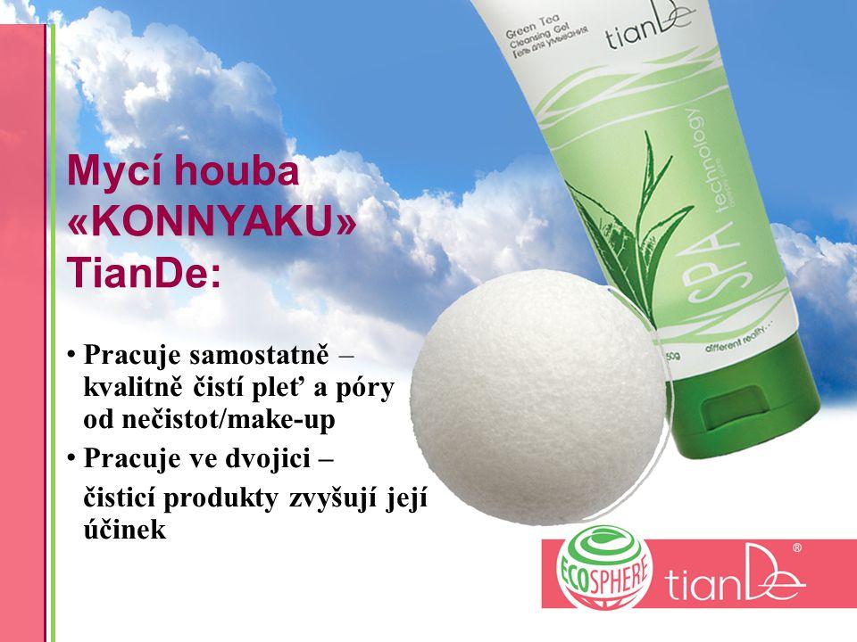 Mycí houba «KONNYAKU» TianDe: Pracuje samostatně – kvalitně čistí pleť a póry od nečistot/make-up Pracuje ve dvojici – čisticí produkty zvyšují její účinek