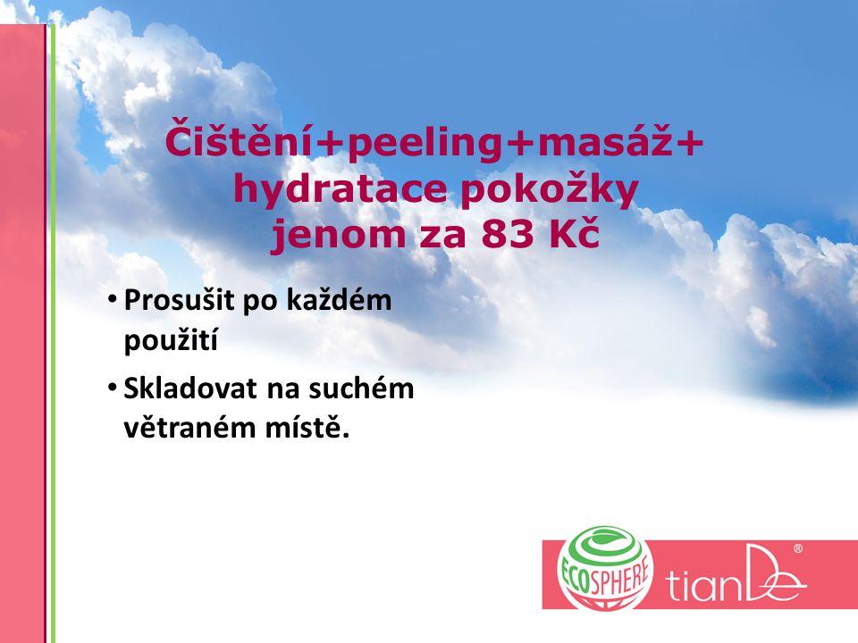Čištění+peeling+masáž+ hydratace pokožky jenom za 83 Kč Prosušit po každém použití Skladovat na suchém větraném místě.