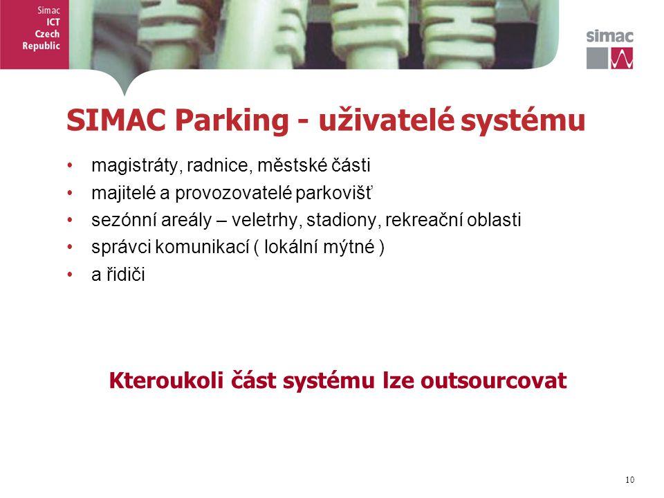 10 SIMAC Parking - uživatelé systému magistráty, radnice, městské části majitelé a provozovatelé parkovišť sezónní areály – veletrhy, stadiony, rekreační oblasti správci komunikací ( lokální mýtné ) a řidiči Kteroukoli část systému lze outsourcovat