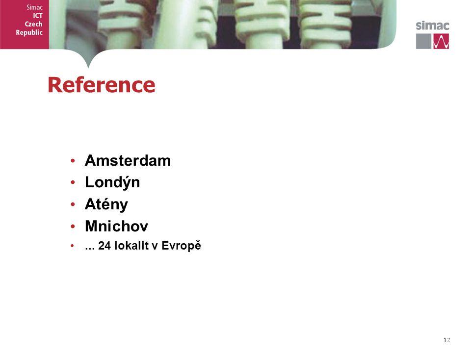 12 Reference Amsterdam Londýn Atény Mnichov... 24 lokalit v Evropě