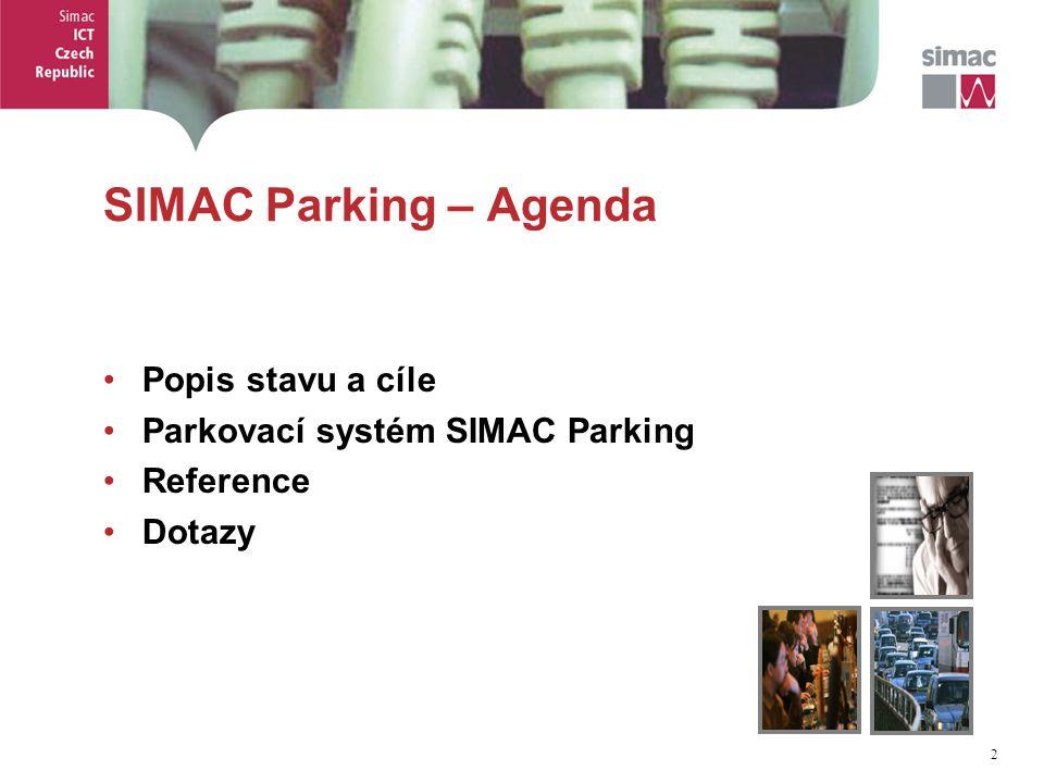 3 3 SIMAC Parking – Popis situace Pohled na mobilitu a parkování : Stále více aut, stále silnější dopravní provoz Obytné i komerční oblasti jsou zahlceny auty Všichni chtějí jezdit a parkovat, více a lépe Řidiči jsou za to ochotni ( rozumně ) platit Radnice problematiku vnímají a chtějí ji řešit, jsou pod tlakem Radnice mají pravomoc k řešení na lokální úrovni Radnice nemají podporu vlády Radnice chtějí ( rozumně ) investovat Každý si chce vydělat