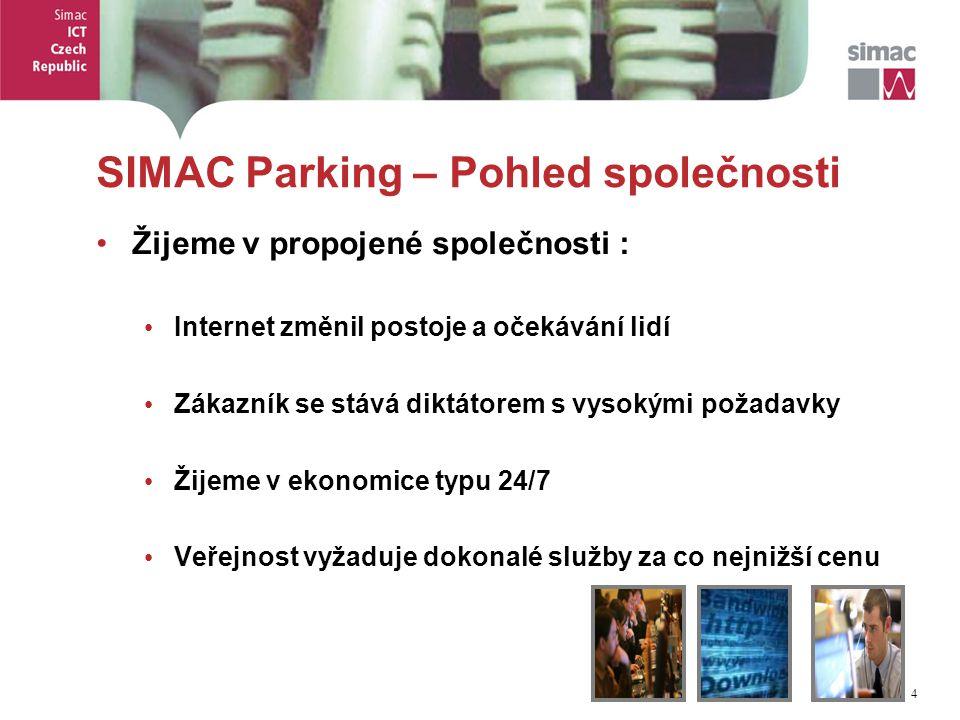4 4 SIMAC Parking – Pohled společnosti Žijeme v propojené společnosti : Internet změnil postoje a očekávání lidí Zákazník se stává diktátorem s vysokými požadavky Žijeme v ekonomice typu 24/7 Veřejnost vyžaduje dokonalé služby za co nejnižší cenu