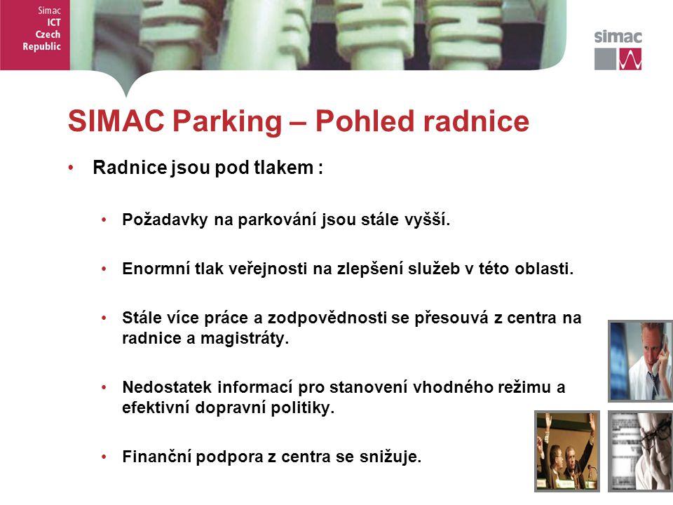 5 5 SIMAC Parking – Pohled radnice Radnice jsou pod tlakem : Požadavky na parkování jsou stále vyšší. Enormní tlak veřejnosti na zlepšení služeb v tét